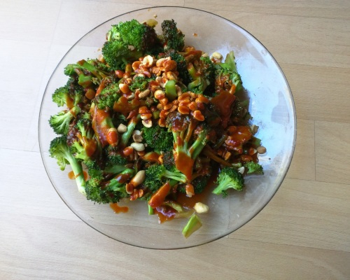 Korean Gochujang Salad Vinaigrette Over Roasted Broccoli.