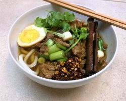 Taiwanese Inspired Braised Pork Noodle Soup